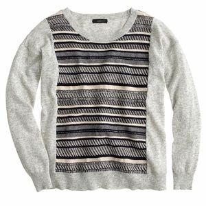 J. Crew Textured-stripe sweater in grey size small
